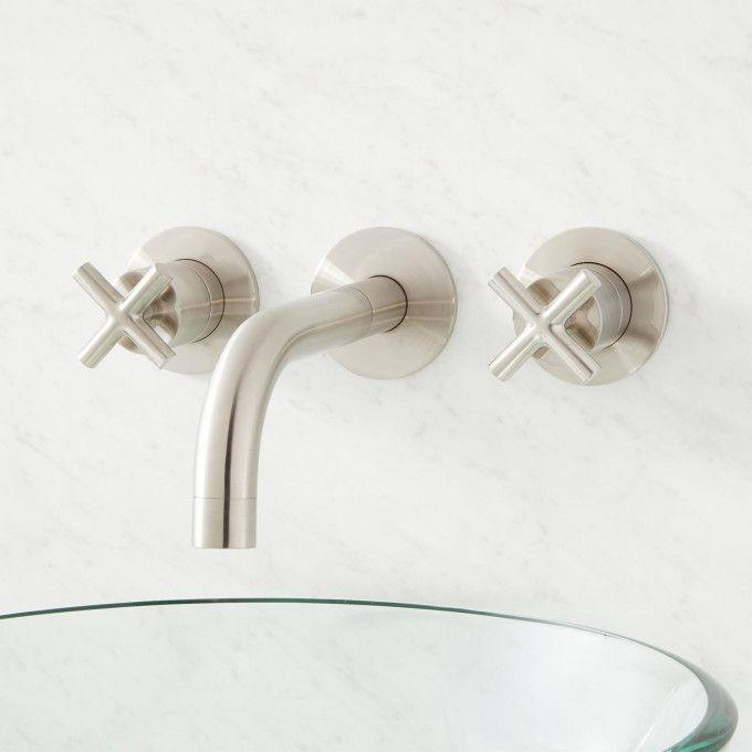 Exira Wall Mount Lavatory Faucet with Cross Handles - Brushed Nickel - Front