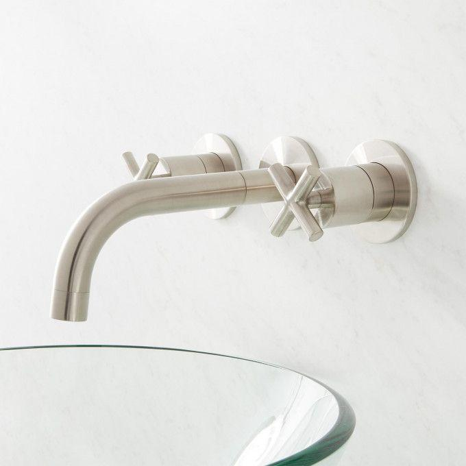 Exira Wall Mount Lavatory Faucet with Cross Handles - Brushed Nickel - Side
