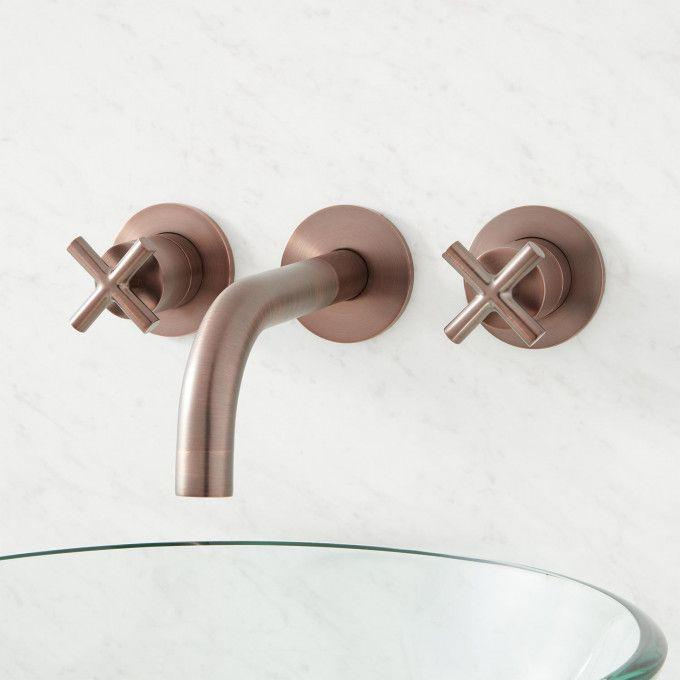 Exira Wall Mount Lavatory Faucet with Cross Handles - Oil Rubbed Bronze - Front