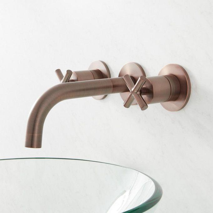 Exira Wall Mount Lavatory Faucet with Cross Handles - Oil Rubbed Bronze - Side