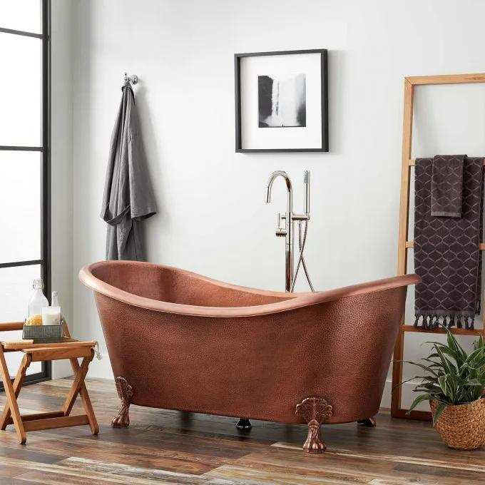 Isabella Hammered Copper Double-Slipper Clawfoot Tub