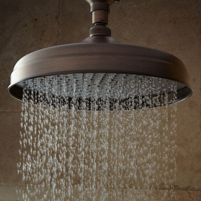 Lambert Wall-Mount Rainfall Shower Head with Ornate Extended Shower Arm - Oil Rubbed Bronze