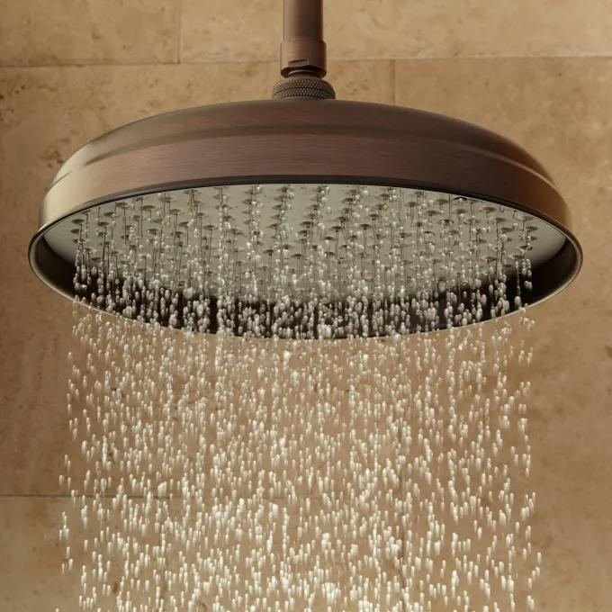 Lambert Rainfall Shower Head With Ceiling-Mount Shower Arm - Oil Rubbed Bronze
