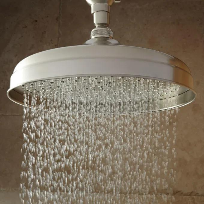 Lambert Wall-Mount Rainfall Shower Head with Ornate Extended Shower Arm - Brushed Nickel