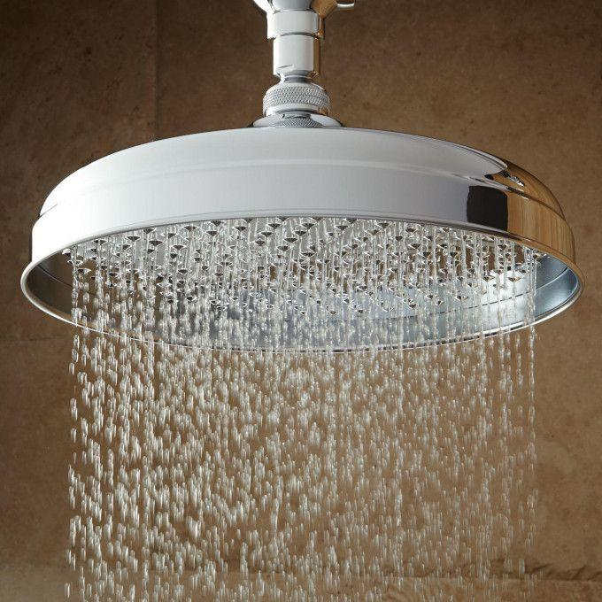 Lambert Wall-Mount Rainfall Shower Head with Ornate Extended Shower Arm - Chrome