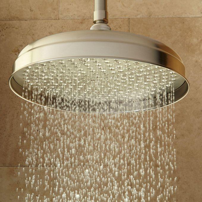 Lambert Rainfall Shower Head With Ceiling-Mount Shower Arm - Brushed Nickel