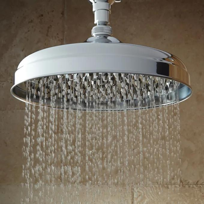 Lambert Nozzle Rainfall Shower Head With Wall Mount Victorian Arm - Chrome