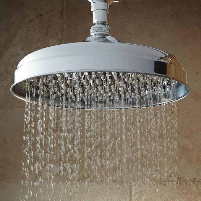 Lambert Nozzle Wall-Mount Rainfall Shower Head With Ornate Shower Arm - Chrome