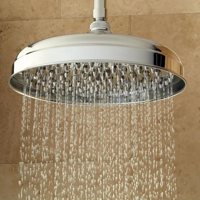 Lambert Nozzle Rainfall Shower Head with Ceiling-Mount Shower Arm - Chrome