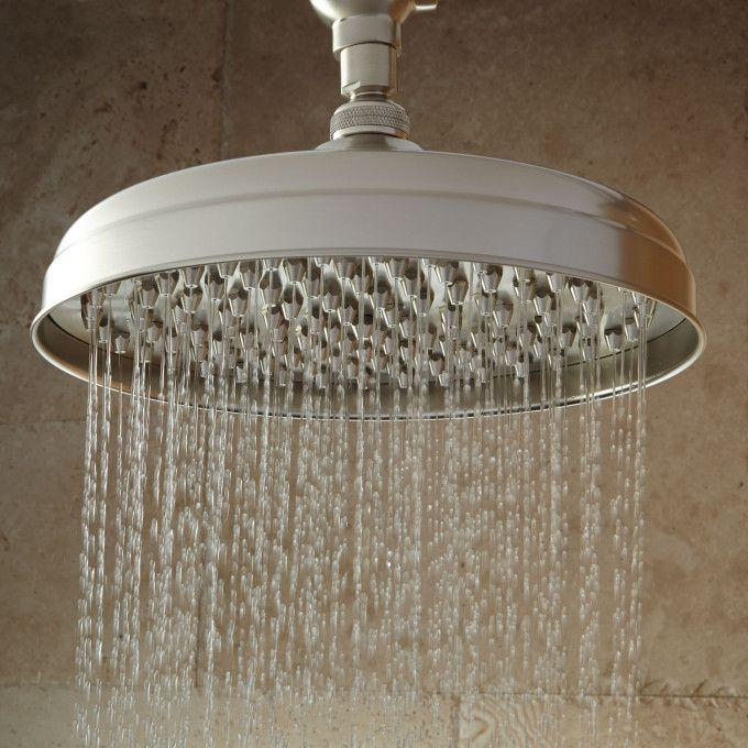Lambert Nozzle Wall-Mount Rainfall Shower Head With Ornate Shower Arm - Brushed Nickel