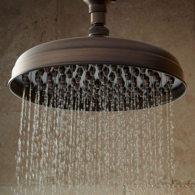 Lambert Nozzle Rainfall Shower Head With Wall Mount Victorian Arm - Oil Rubbed Bronze