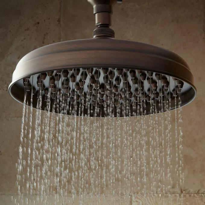 Lambert Nozzle Wall-Mount Rainfall Shower Head With Ornate Shower Arm - Oil Rubbed Bronze