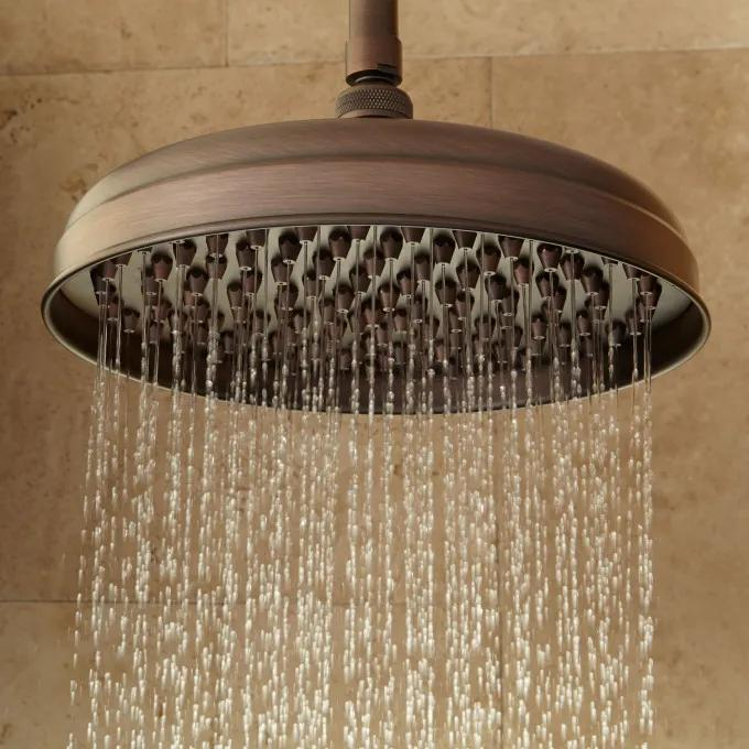 Lambert Nozzle Rainfall Shower Head with Ceiling-Mount Shower Arm - Oil Rubbed Bronze