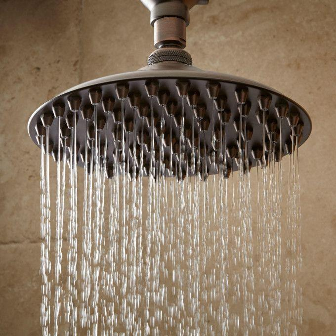 Bostonian Rainfall Nozzle Shower Head With Extended Shower Arm - Oil Rubbed Bronze