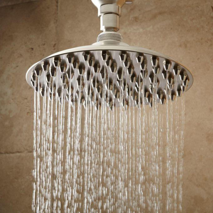 Bostonian Rainfall Nozzle Shower Head With Ornate Shower Arm - Brushed Nickel