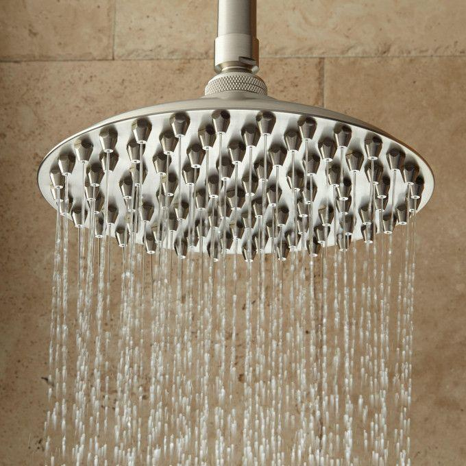 Bostonian Rainfall Nozzle Shower Head With Extended Shower Arm - Brushed Nickel