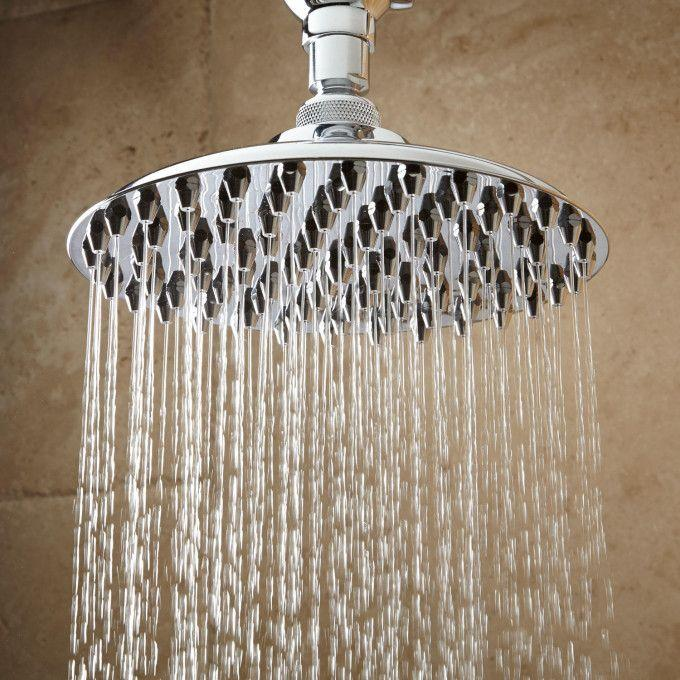 Bostonian Rainfall Nozzle Shower Head With Ornate Shower Arm - Chrome