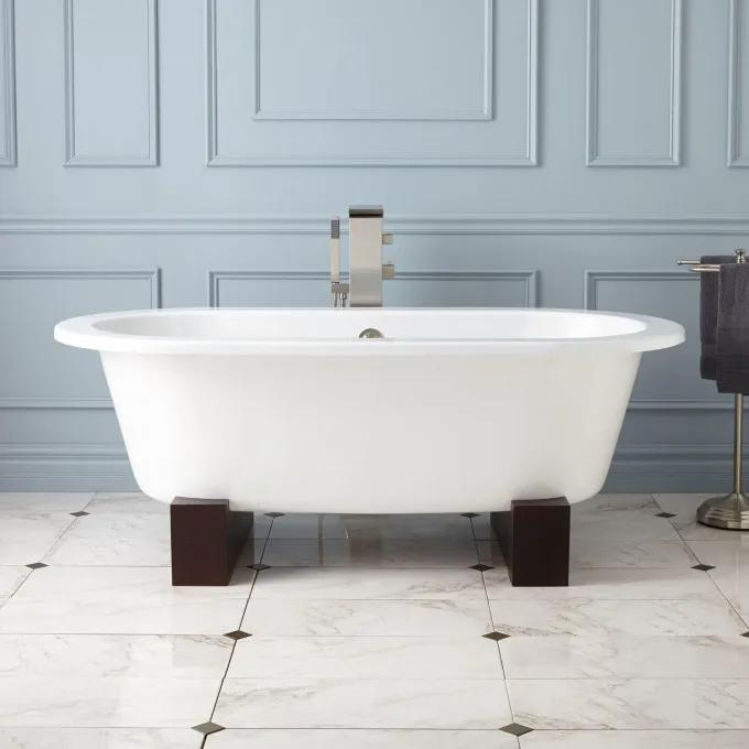 """68"""" Erikson Cast Iron Double-Ended Tub on Wood Cradles"""