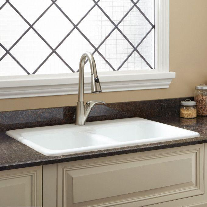 "33"" Blyth Double-Bowl Cast Iron Drop-in Kitchen Sink - Single Hole Faucet"