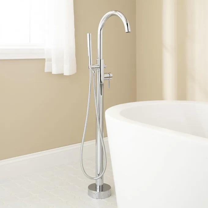 Lethe Freestanding Tub Faucet with Hand Shower - Chrome