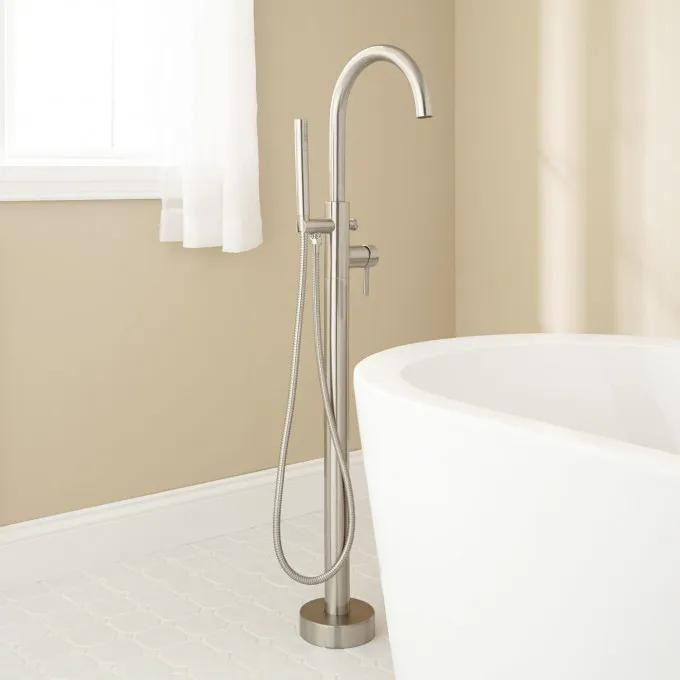 Lethe Freestanding Tub Faucet with Hand Shower - Brushed Nickel