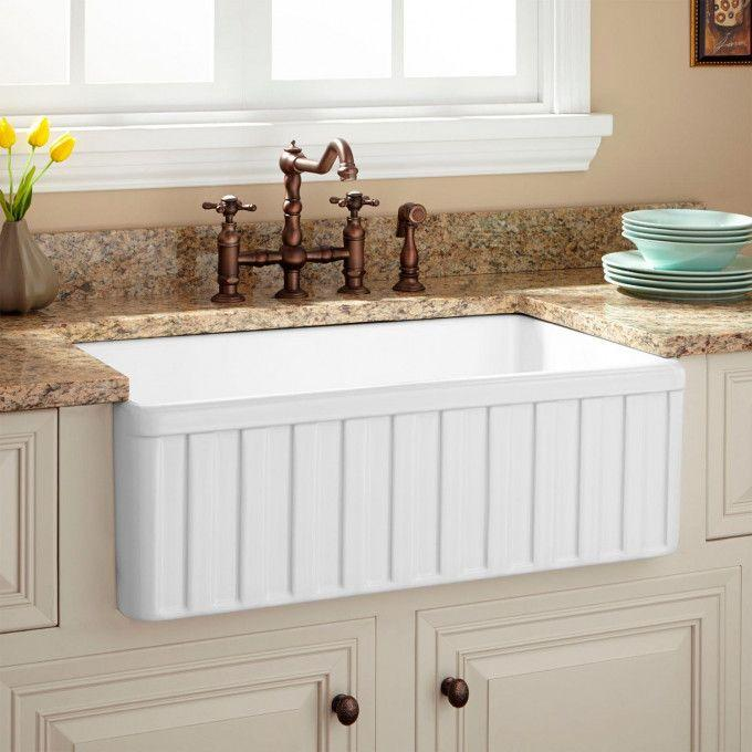 """30"""" Oldham Fireclay Farmhouse Sink with Fluted Front"""