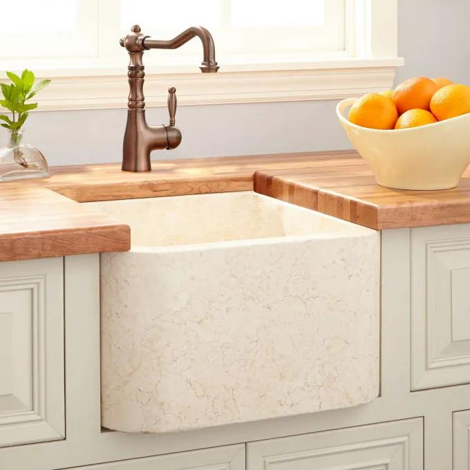 Polished Marble Single Bowl Farmhouse Sink - Egyptian Marble