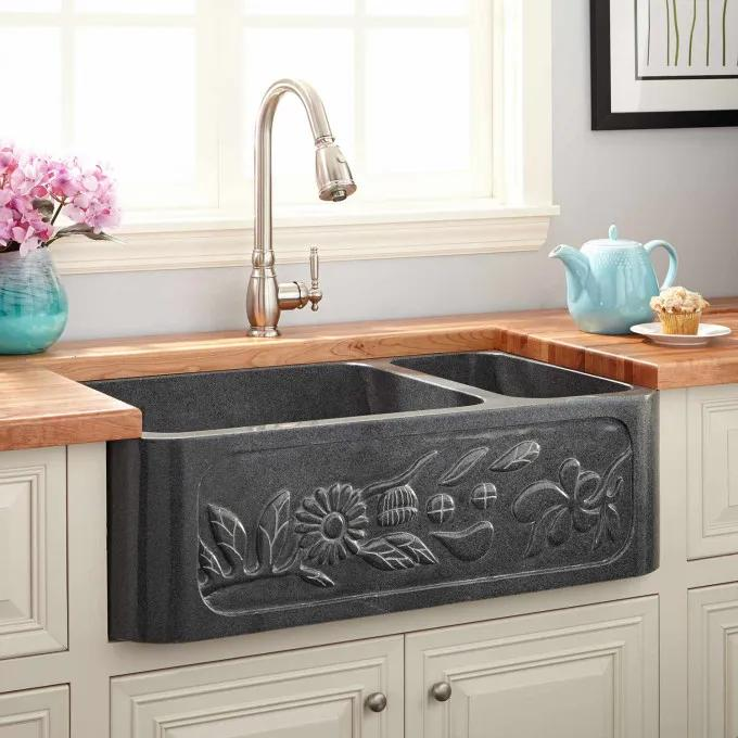 "33"" Floral 70/30 Offset Double-Bowl Polished Granite Farmhouse Sink - Blue Gray"