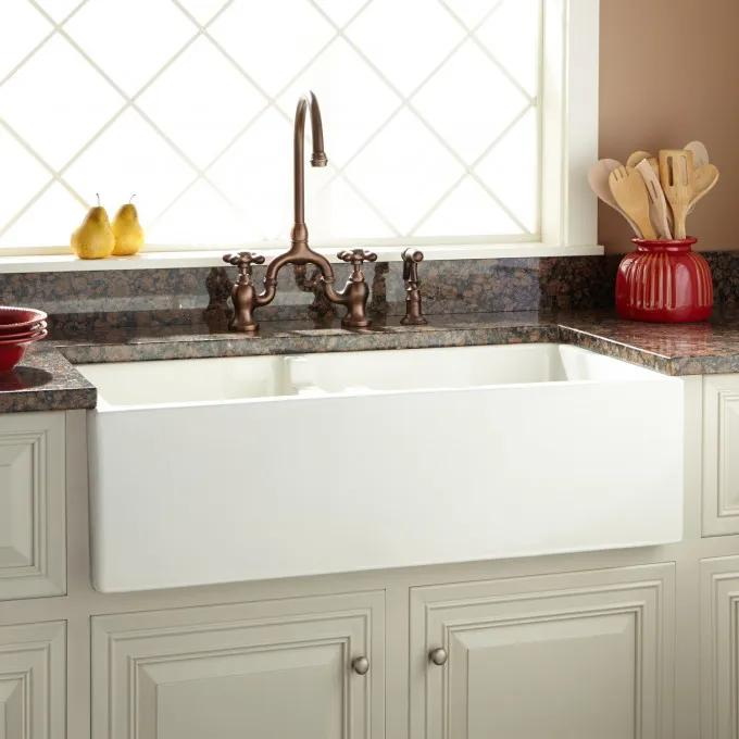 """36"""" Risinger 60/40 Offset Bowl Fireclay Farmhouse Sink - Smooth Apron - Biscuit"""