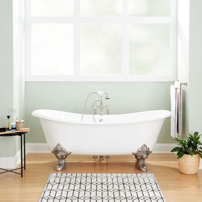 """59"""" Lena Cast Iron Clawfoot Tub - Continuous Rolled Rim - Monarch Imperial Feet"""