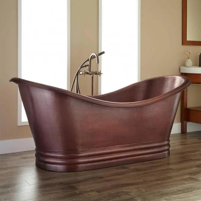 "71"" Morgan Hammered Dark Copper Double-Slipper Tub"