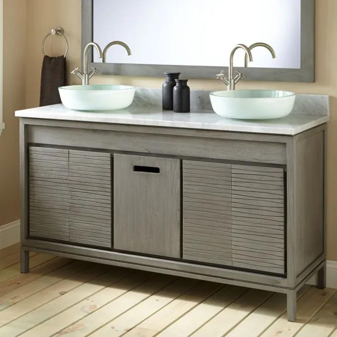 "60"" Becker Teak Vessel Sink Vanity - Gray"
