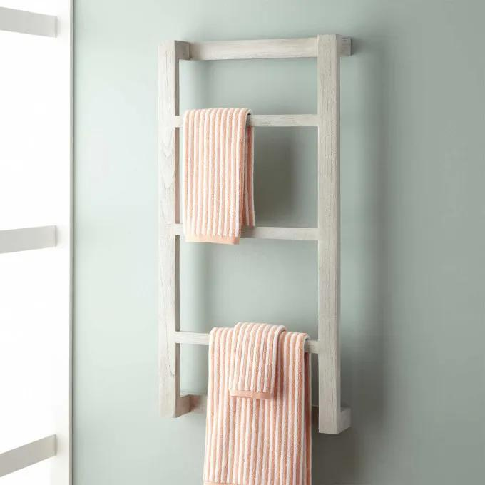 Wulan Teak Hanging Towel Rack - Light Gray