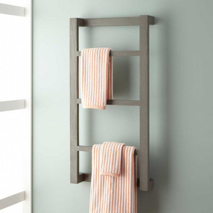 Wulan Teak Hanging Towel Rack - Gray