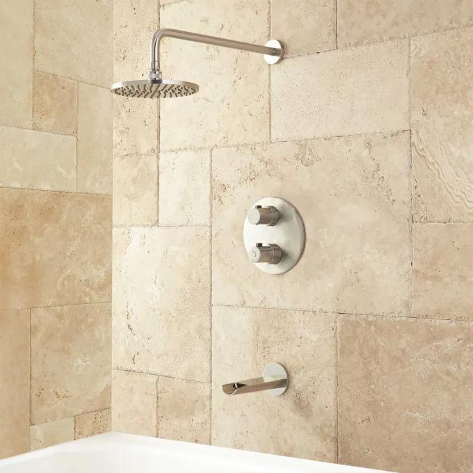 Thermostatic Waterfall Tub and Shower Set - Brushed Nickel