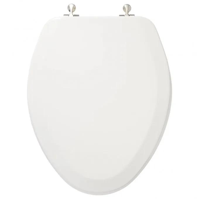 Deluxe Molded Wood Elongated Toilet Seat - White - Brushed Nickel Standard Hinges