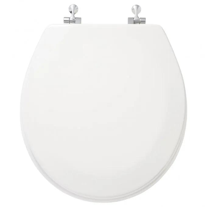 Deluxe Molded Wood Elongated Toilet Seat - White - Chrome Standard Hinges