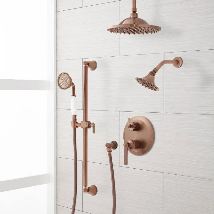 Cooper Pressure Balance Shower System With Rainfall Shower Wall Shower And Hand Shower Bathroom