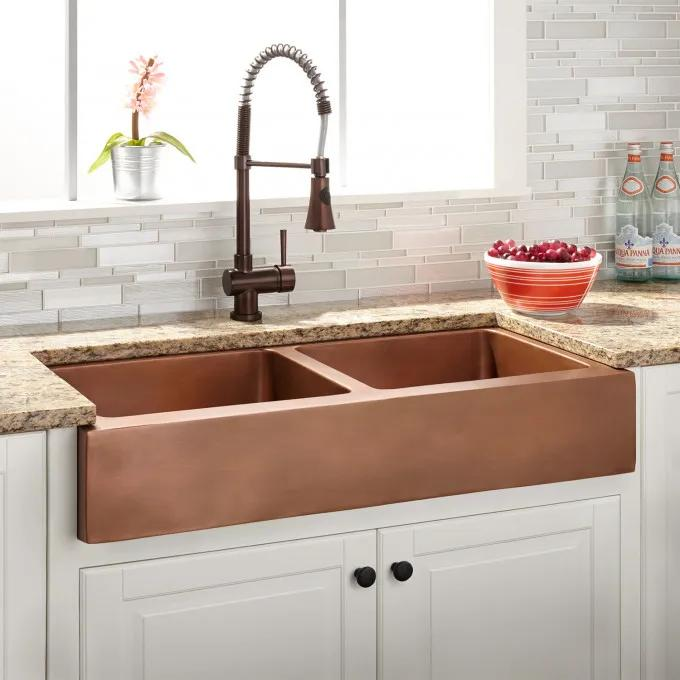 "36"" Smithstone Double Bowl Copper Retrofit Farmhouse Sink"