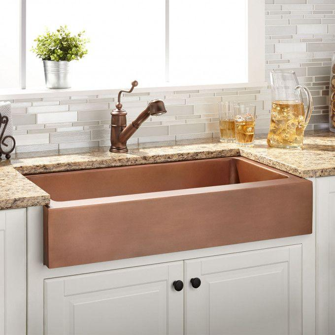 "36"" Clementine Copper Retrofit Farmhouse Sink"