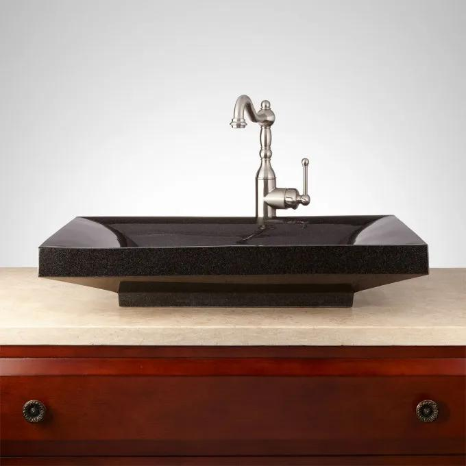 Rectangular Black Granite Vessel Sink
