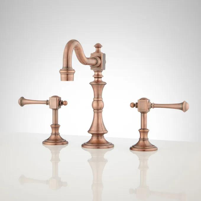 Vintage Widespread Bathroom Faucet - Lever Handles - Antique Copper
