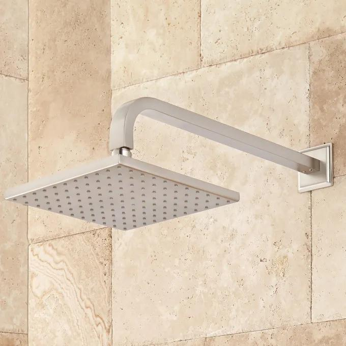 Wall-Mount Rainfall Shower Head - Brushed Nickel