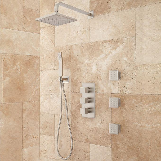 Ryle Thermostatic Shower System with Hand Shower and 3 Body Jets