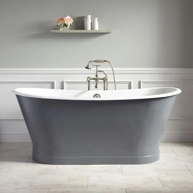 "67"" Kateryn Bateau Skirted Tub - Dark Gray"