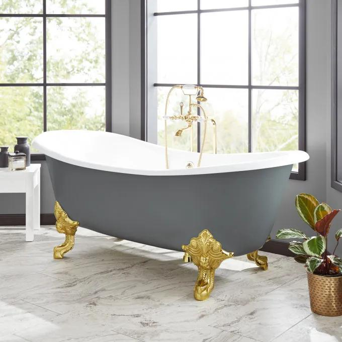 "72"" Lena Cast Iron Clawfoot Tub - Dark Gray"