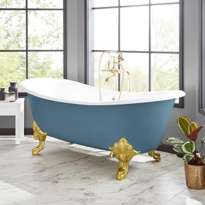 "72"" Lena Cast Iron Tub - Slate Blue"