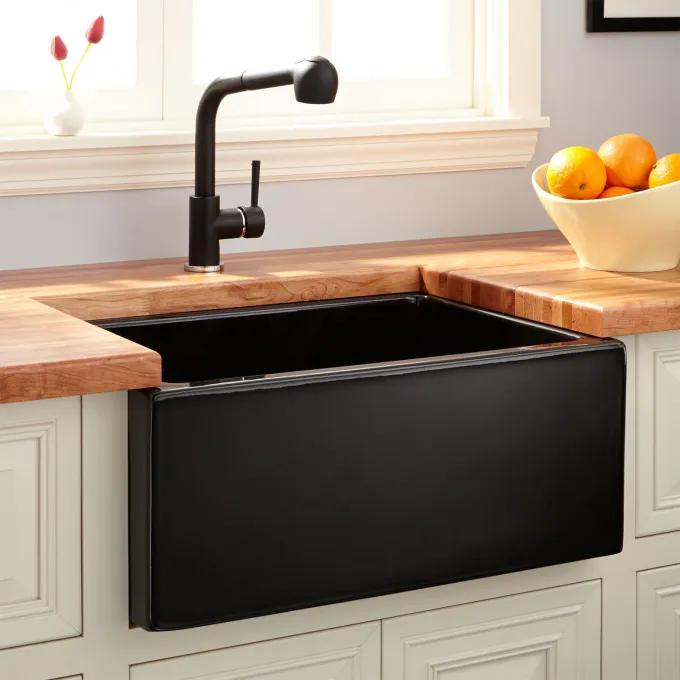 "24"" Adams Fireclay Lightweight Reversible Farmhouse Sink - Smooth Apron - Black"