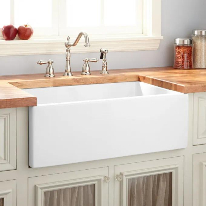 "30"" Mitzy Fireclay Lightweight Rerversible Farmhouse Sink - Smooth Apron - White"