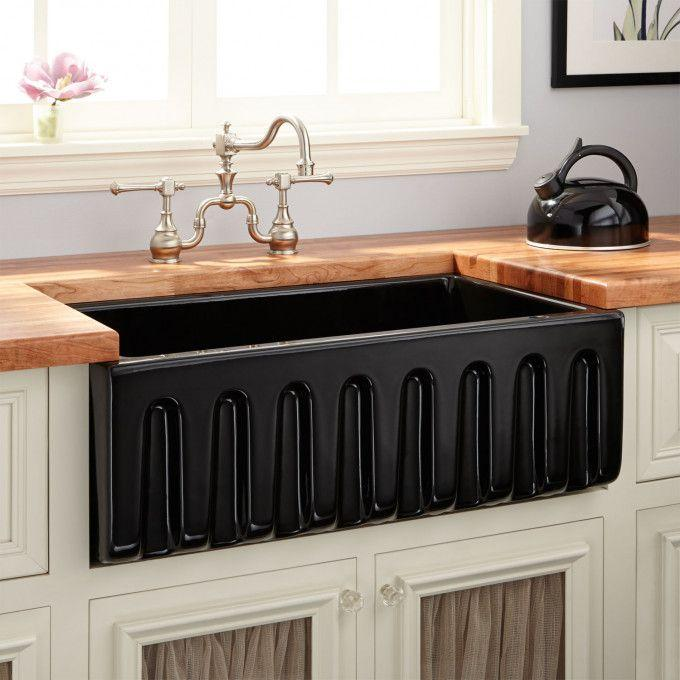 "30"" Mitzy Fireclay Lightweight Rerversible Farmhouse Sink - Fluted Apron - Black"